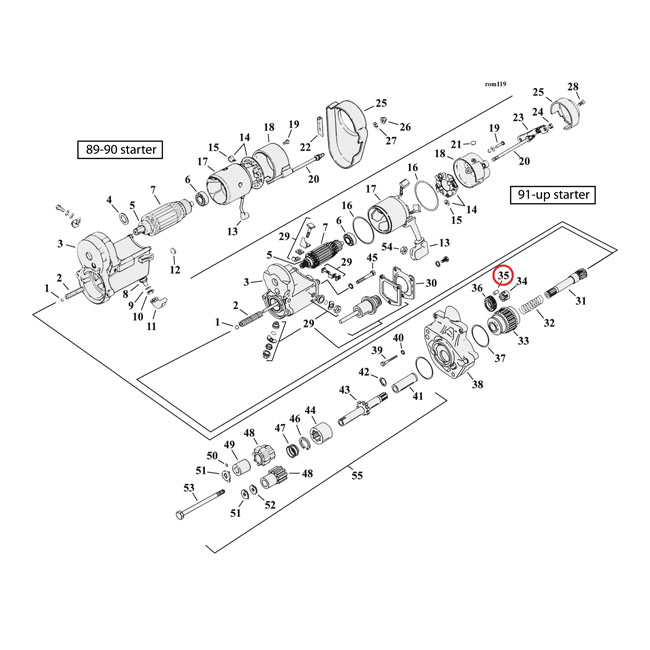 969077 - roller  transm  u0026 starter motor clutch